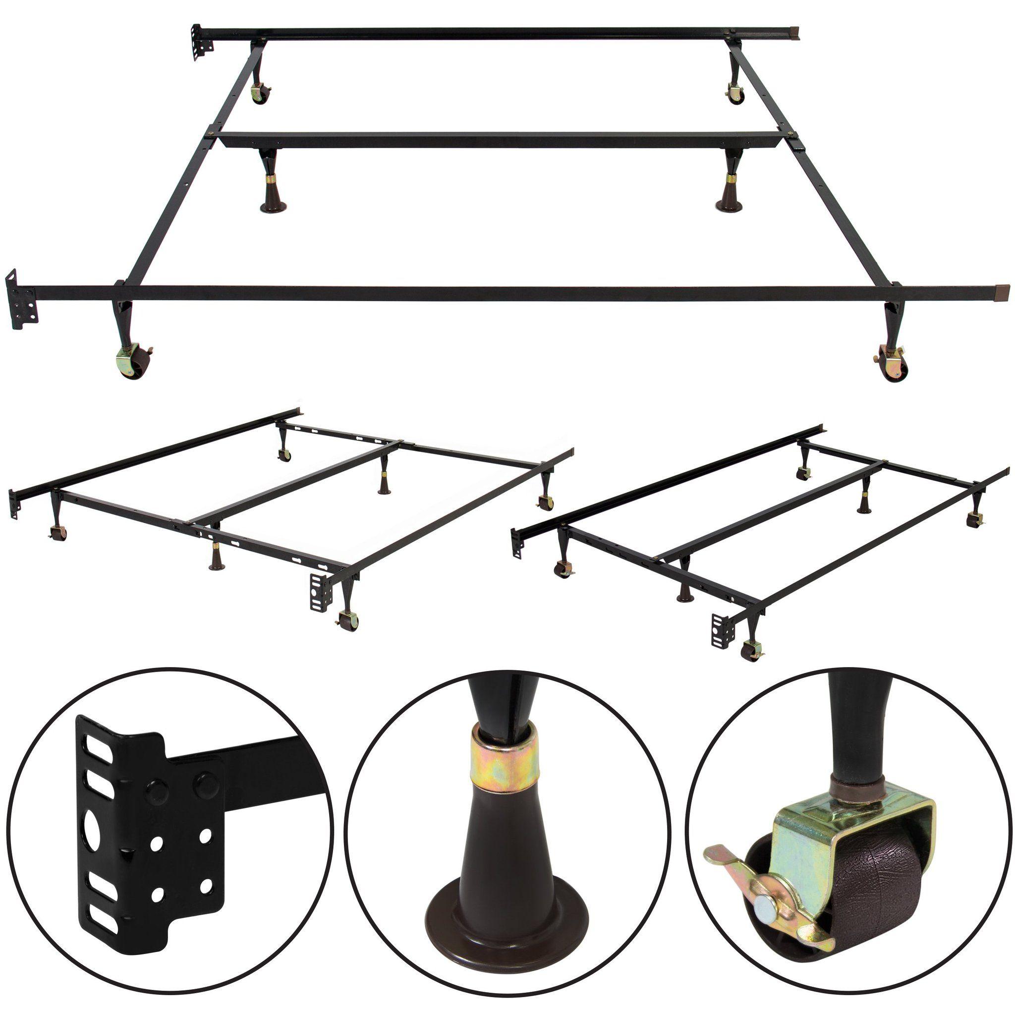 Adjustable Metal Bed Frame w/ Locking Wheels Metal bed