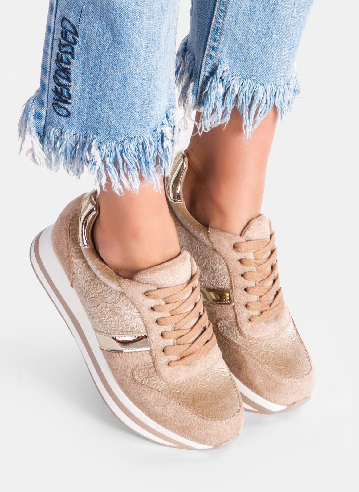 Bezowe Buty Sportowe Na Platformie Kioto W Sklepie Deezee Pl Wedge Sneaker Top Sneakers High Top Sneakers
