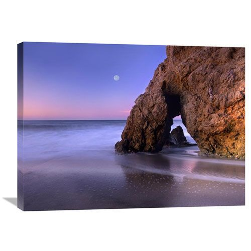 Sea Arch And Full Moon Over El Matador State Beach, Malibu, California By Tim Fitzharris, 24 X 32-Inch Wall Art