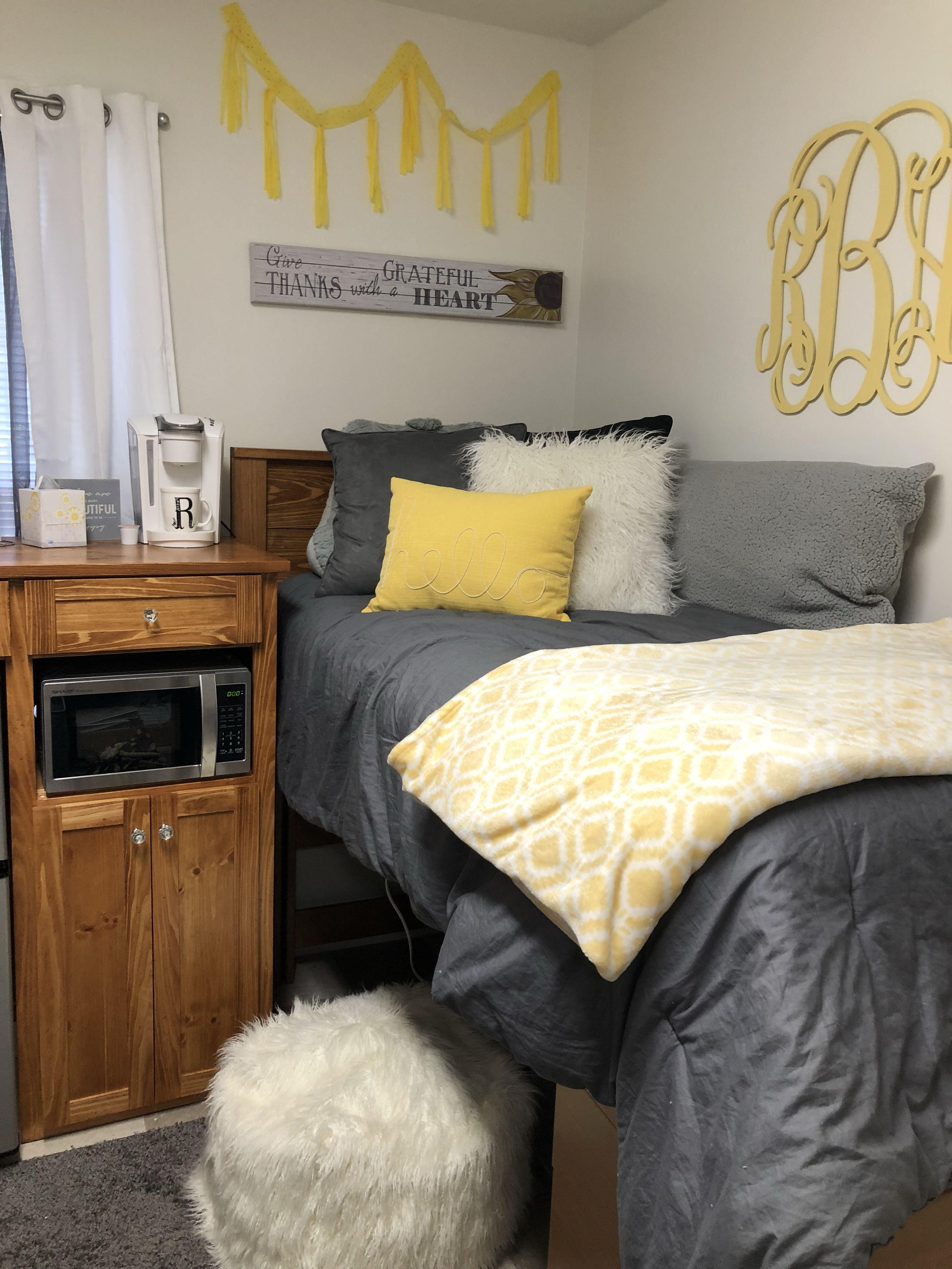 Yellow And Gray Dorm White Dorm Room Dorm Room Designs Dorm