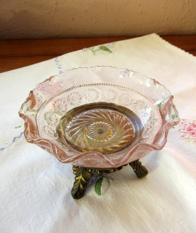 Beautiful Kitchen Decor,Vintage Gift Vintage Glass Fruit Bowl Topaz Colored Glassware Midcentury Heavy Glass Candy Bowl Table Decoration