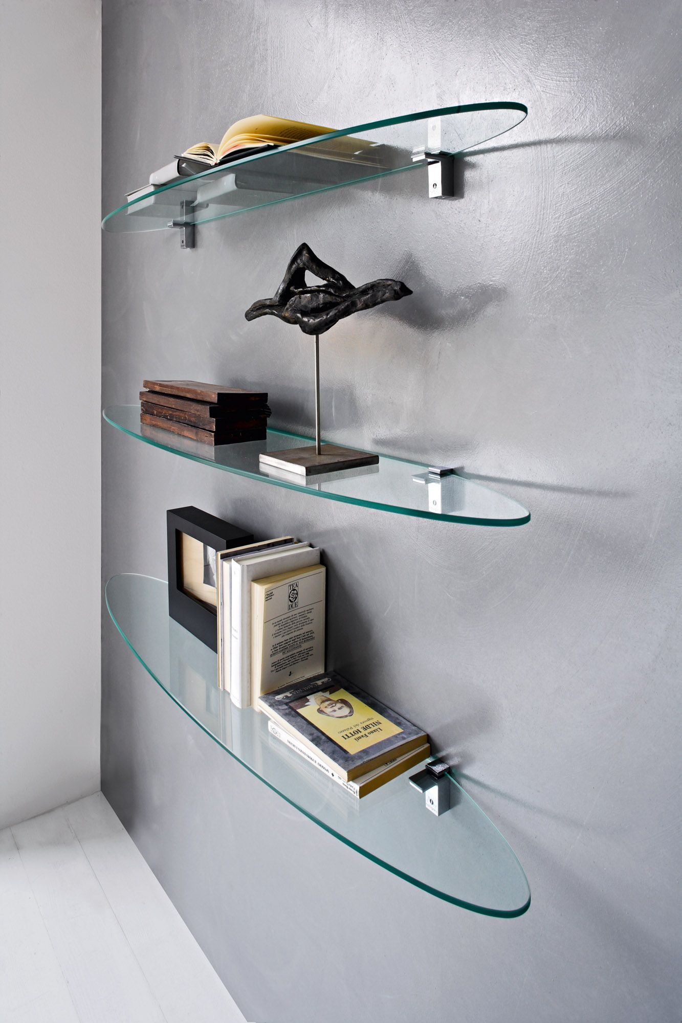 Plana Is An 8mm Thick Oval Glass Shelf Suitable For Living Area Walls The Flat Side Is Mounted O Glass Shelves Decor Glass Wall Shelves Floating Glass Shelves