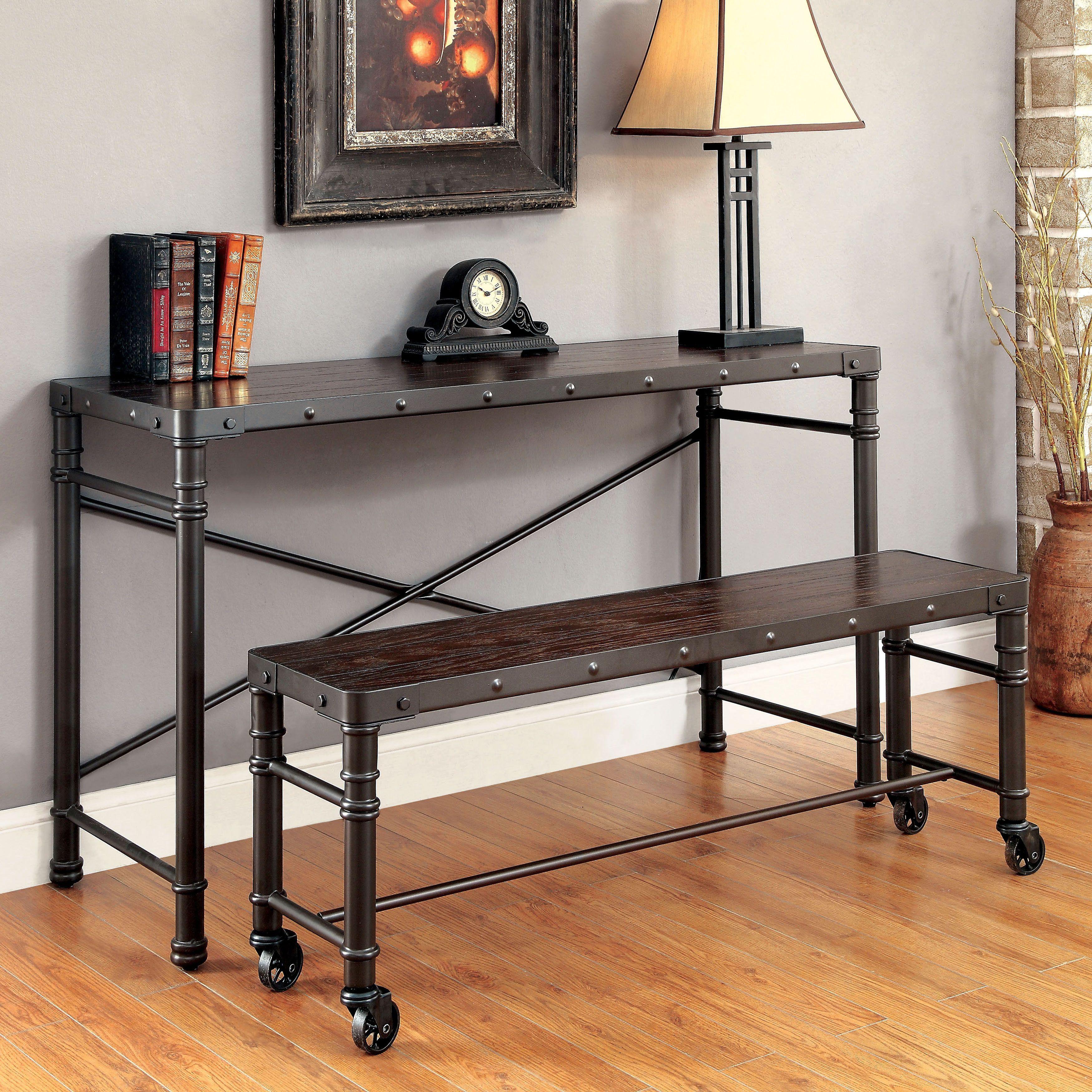 Furniture Of America Stevens Industrial Steampunk Metal 46 Inch Bench