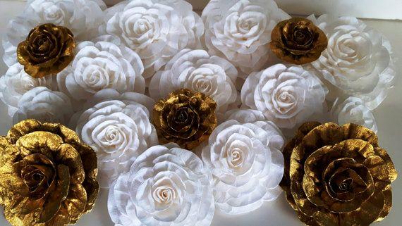 Royal Gold Black White large crepe Paper Flowers wall bridal baby kate shower Art deco wedding spadebackdrop graduation birthday Giant