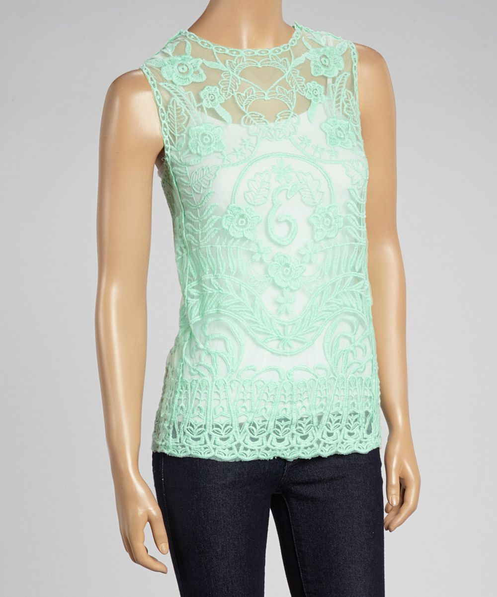 Mint Green Sheer Lace Sleeveless Top
