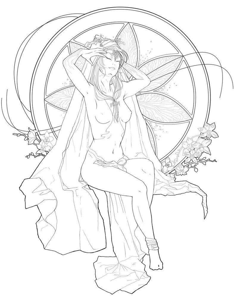 Deviant Art Line Art For Adults Midna Art Nouveau Line Art By