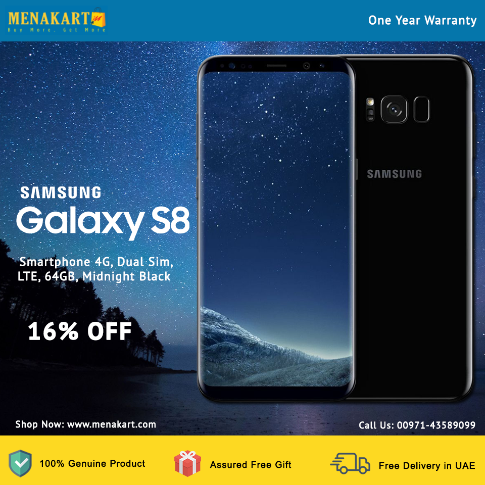 Samsung Galaxy S8, Smartphone 4G, Dual Sim, LTE, 64GB, Midnight