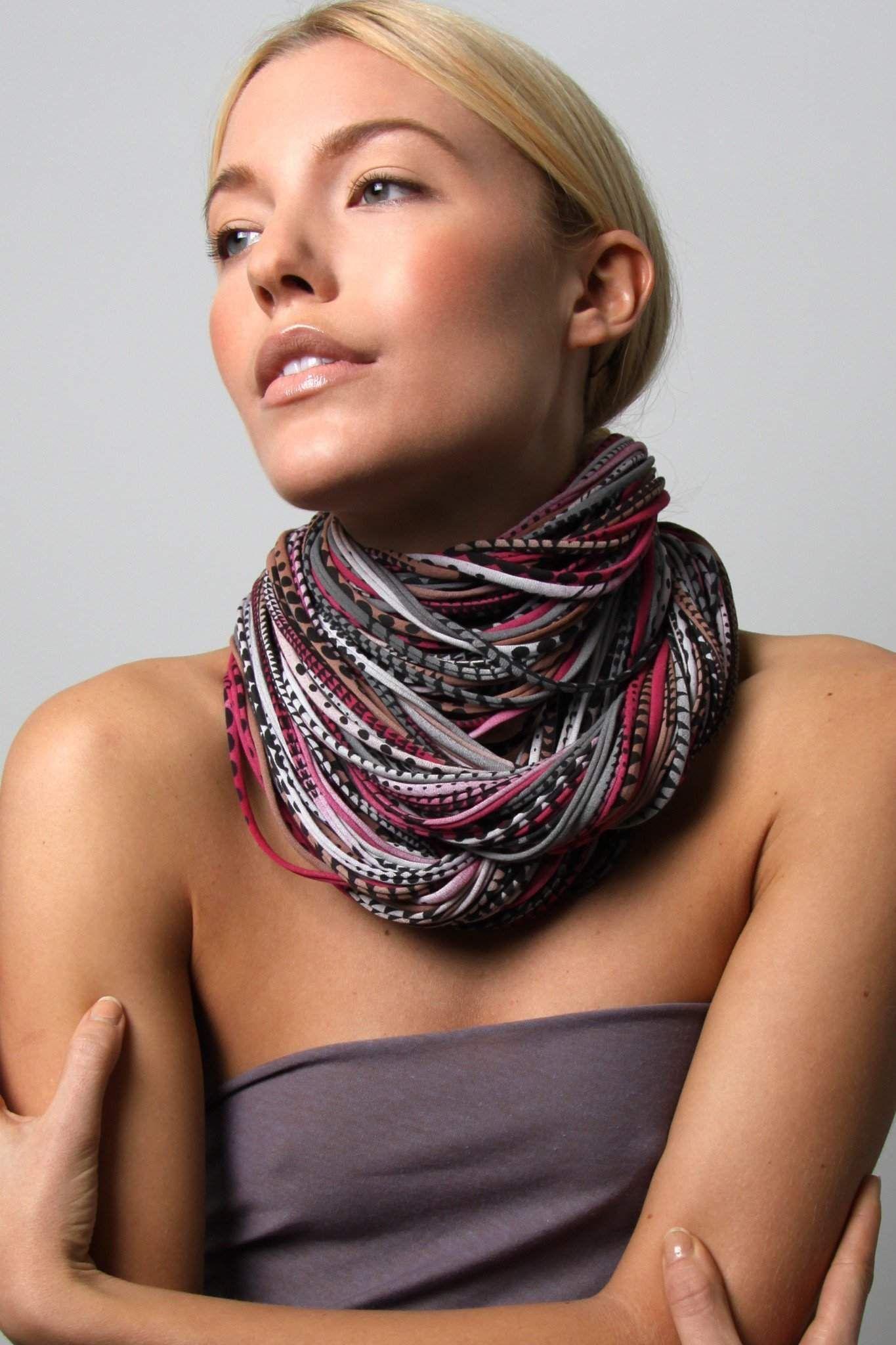 Burgundy Gray Light Brown Chunky Scarf   Chunky scarves ...