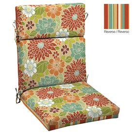 Garden Treasures Floral Multi Red Standard Patio Chair Cushion Lowes
