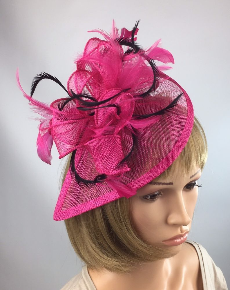 Fuchsia Pink Black Sinamay & Feathers Teardrop Fascinator Occasion ...