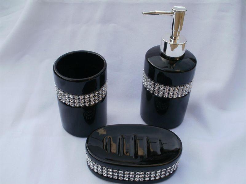 3 Piece Black Ceramic Di...