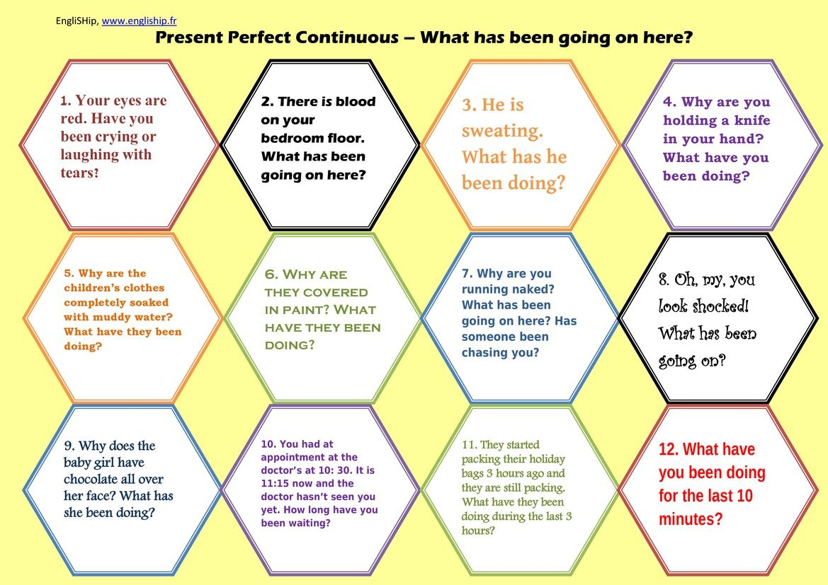 Present Perfect Continuous Cards Or Board Game Present Perfect Let Them Talk Continuity