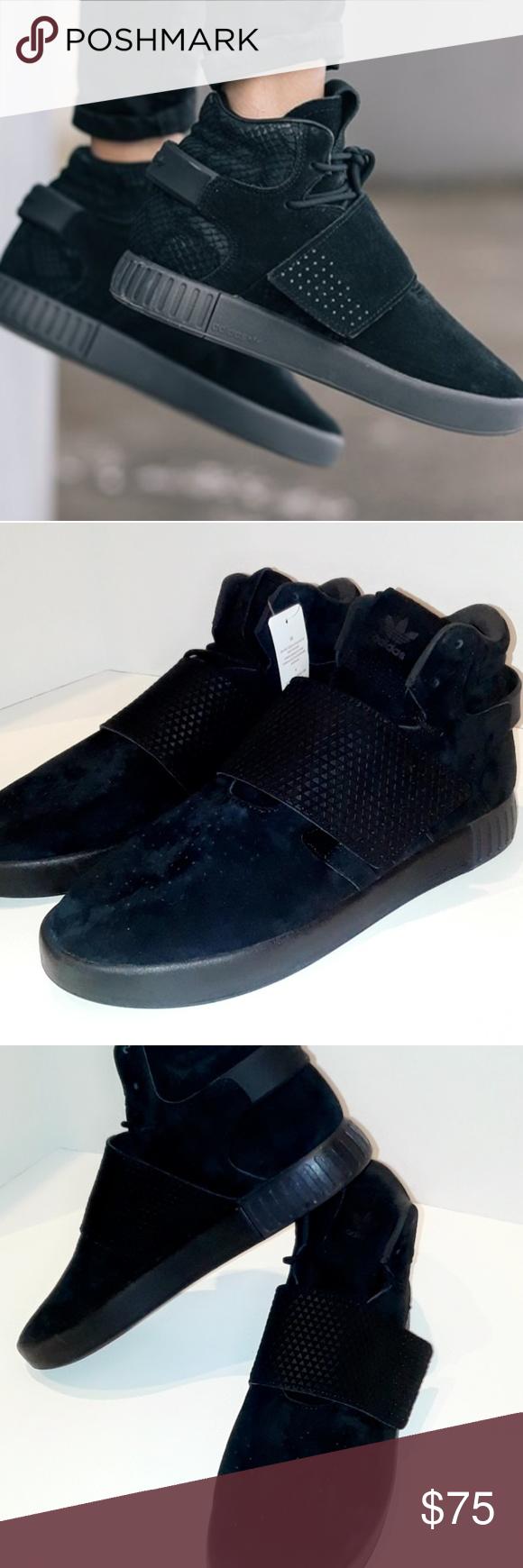 Adidas tubulare invasore cinghia tutta nera scarpe nwt penna d'argento
