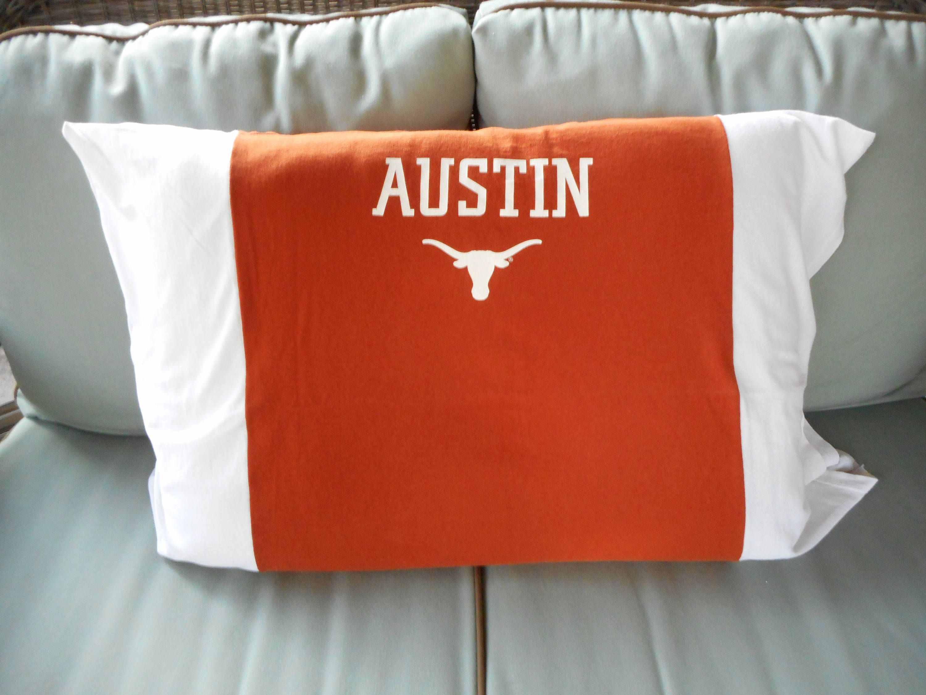 Texas Longhorns Pillowcase recycled Upcycled T-shirt Standard Pillow ...