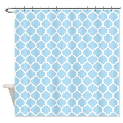 Custom Quatrefoil Shower Curtain Light Blue And White Pattern Customize Colors Standard Extra Long Sizes Moroccan Preppy Home Decor By GatheredNestDesigns