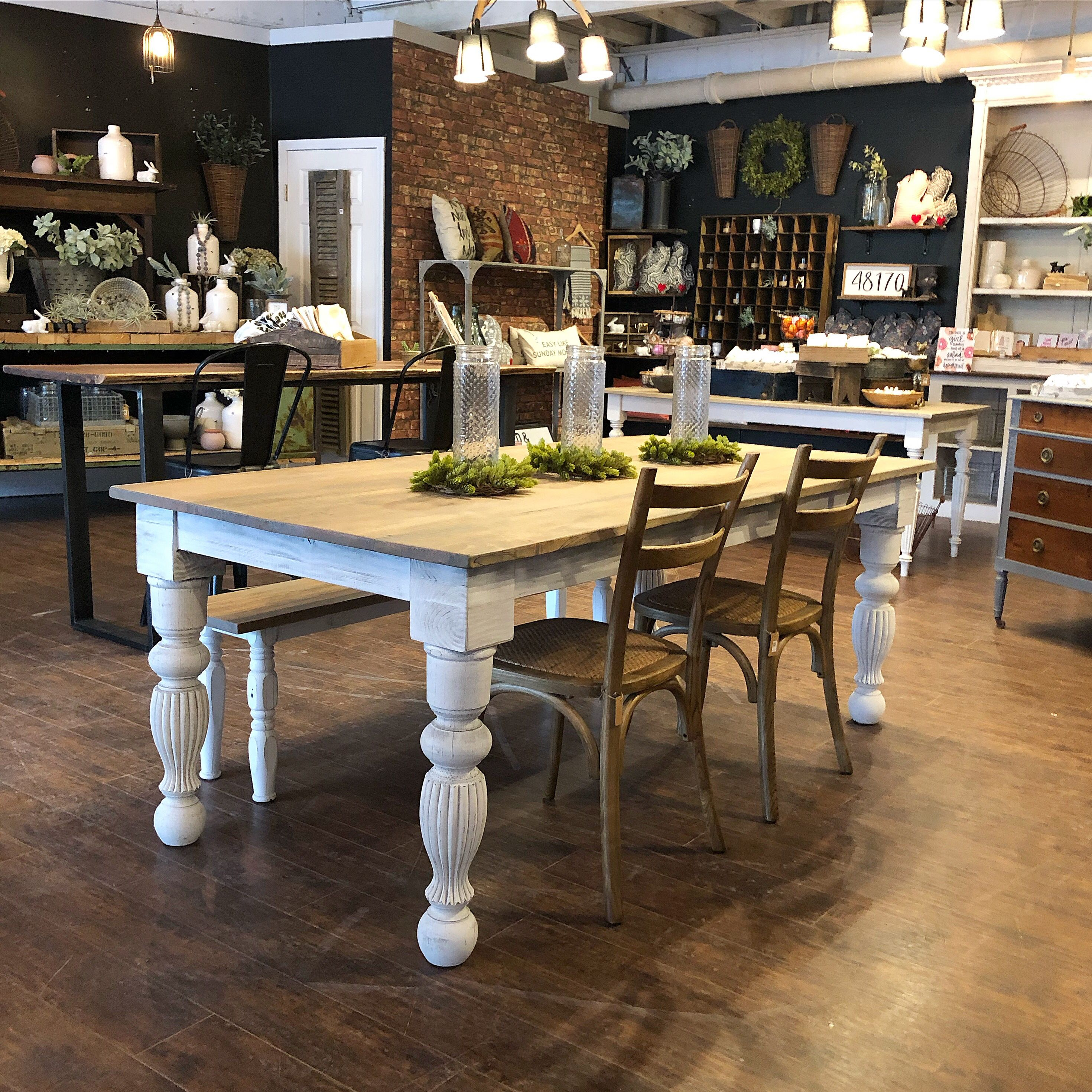 Modern Farmhouse Spindle Leg Table With Reclaimed Wood Top