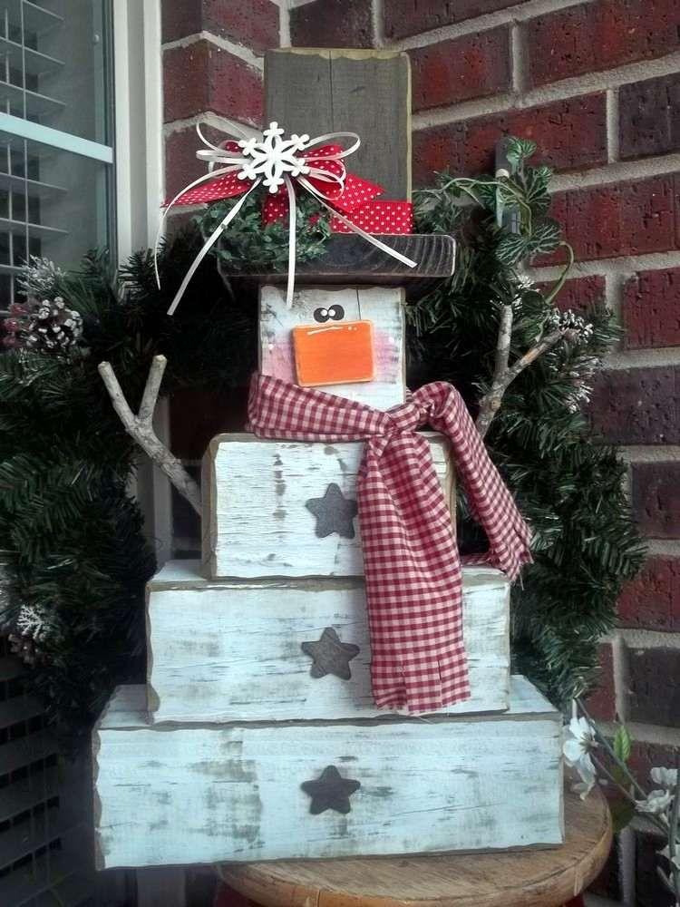 Schneemann Figur Aus Holz Selber Machen Idee Weihnachten