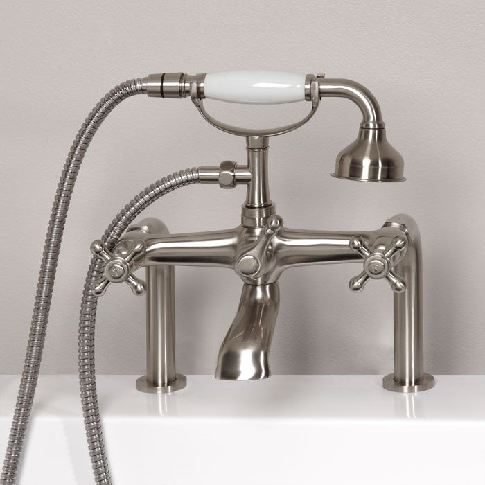 Vera deck mount victorian style tub faucet with hand shower 300 for master tub bathroom for Victorian style bathroom faucets