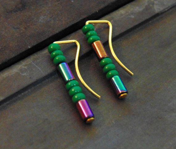 Minimalist Straight Stud Ear Pins // turquoise by LarryJewelryShop