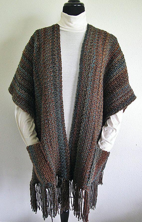 Indian Summer Ruana PDF Crochet Pattern Wrap Shawl by BellaCrochet, $7.95