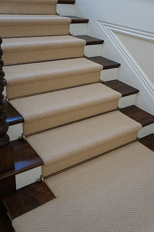 Full Wood Stairs With Carpet Up The Middle Stairway