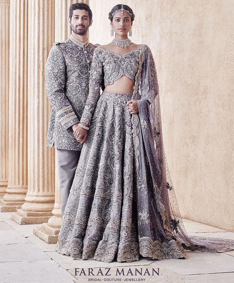 Pakistani Bride Groom Outfits Grey Silver Beautiful Elegant Designed By Faraz Manan Indian Wedding Outfits Bridal Couture Indian Bridal Wear