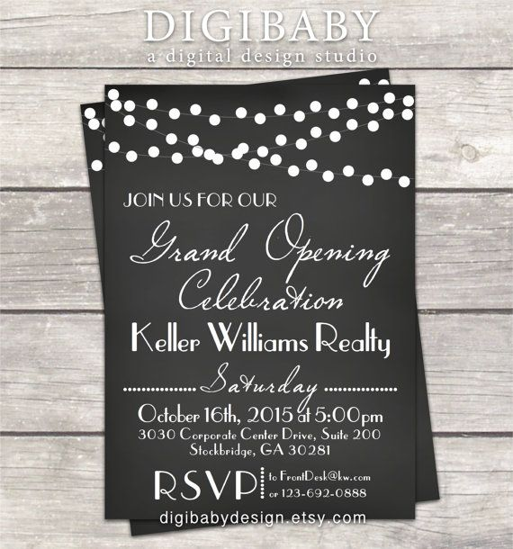 Chalkboard Event Open House Grand Opening invitation printable - best of invitation card sample for inauguration