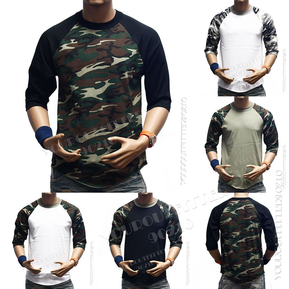 970661f002 3 4 Sleeve S-3XL Camouflage Baseball T-Shirts Raglan Army Camo Tee Men s  Sports  Youroutfitter90210  ShirtsTops