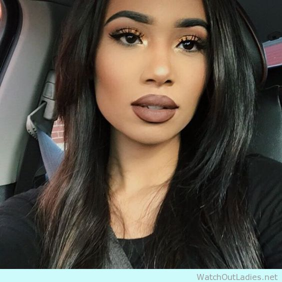 Dark Hair With Matte Brown Anastacia Lipstick Gorgeous Makeup