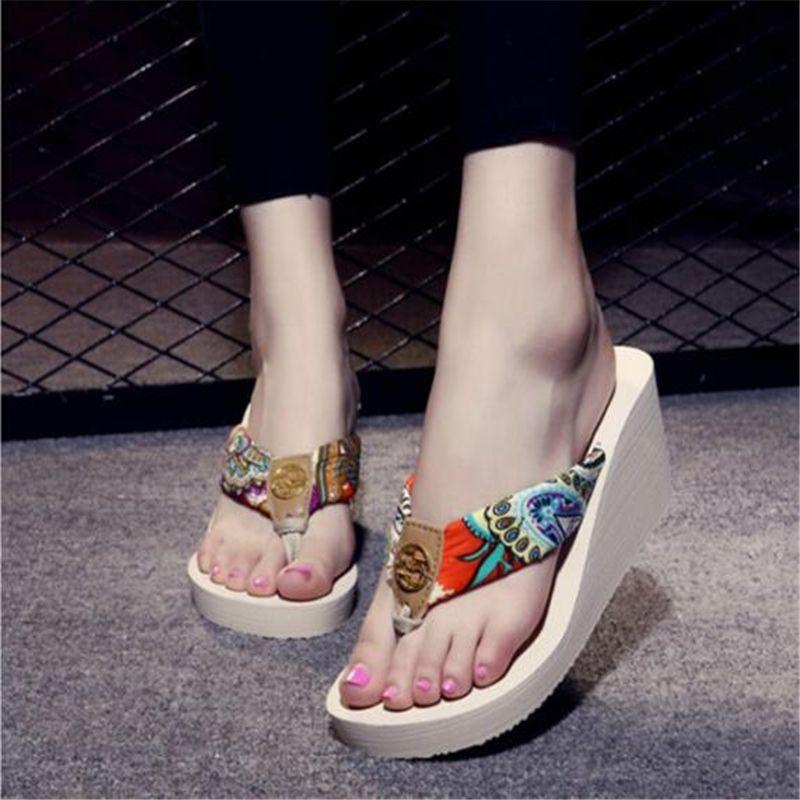 e2561d6b3ae866 Summer Wedges Women Slippers Designer Flip Flops Thick Bottom Beach Slides Sandals  Women Shoes Casual Slippers