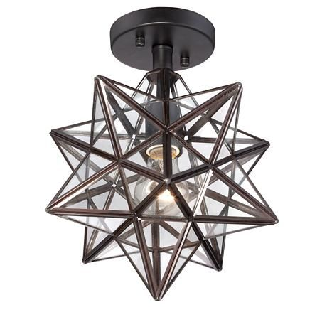 Cuthbert clear glass 11 wide black iron star ceiling light cuthbert clear glass 11 wide black iron star ceiling light 8f491 lamps plus aloadofball Gallery