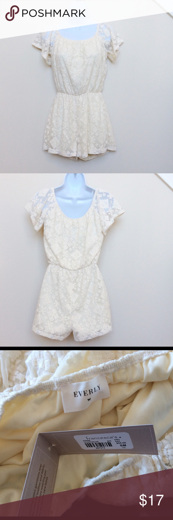 Everly Cream Colored Lace Romper, NWT NWT, Size S Cream Colored lace romper from Everly, sold at Francesca's.  Total length from shoulder is 29 inches. Everly Pants Jumpsuits & Rompers