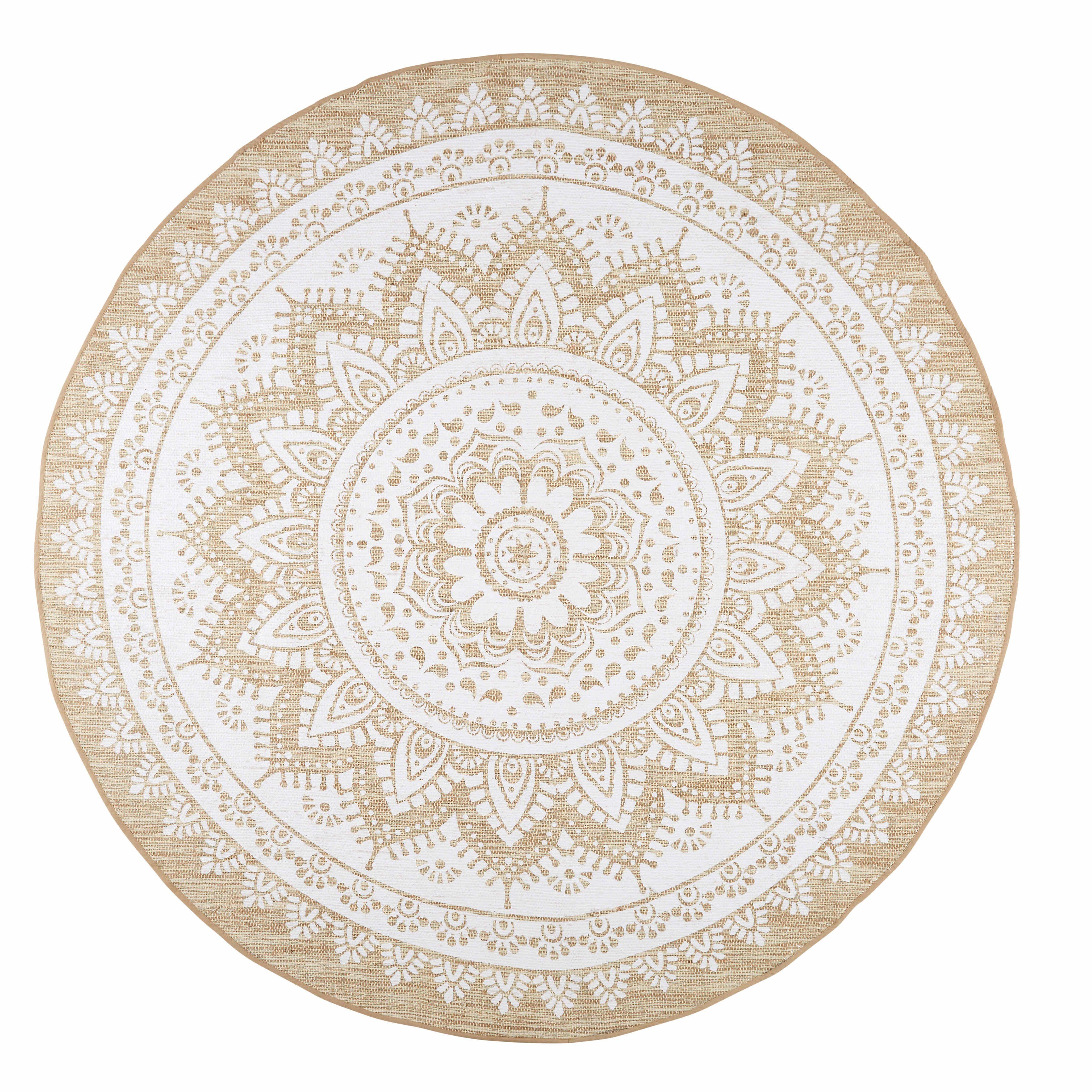 Tapis en jute et coton blanc D 180cm MANDALA