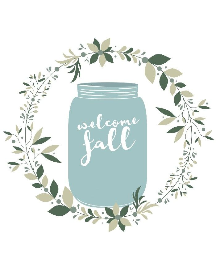 FREE  WELCOME FALL  MASON JAR PRINTABLES is part of Mason jar printables, Fall mason jars, Mason jar pumpkin, Mason jars, Mason jar decorations, Welcome fall - My Welcome Fall mason jar graphic is available in three different colorways