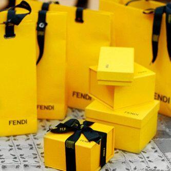 Fendi Yellow And Black Gift Bags
