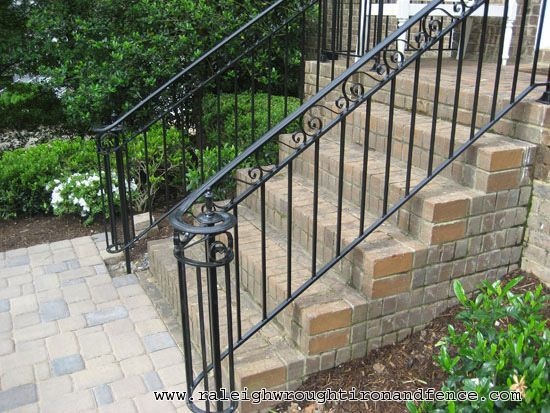 Durham Nc Custom Wrought Iron Railings Raleigh Wrought Iron Co | Outdoor Front Step Railings | Metal | Deck | Brick | Capozzoli Stairworks | Wood