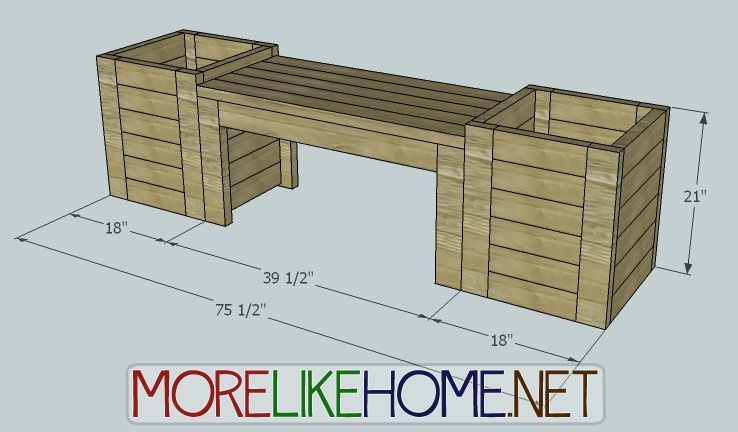 More like home diy plans for bench and planters diy for Balcony dimensions