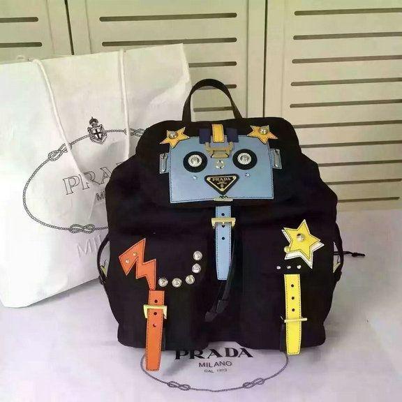 060f043fafc9 2016 A W Prada Robot Fabric Backpack 1BZ811 in Black+Pale Blue