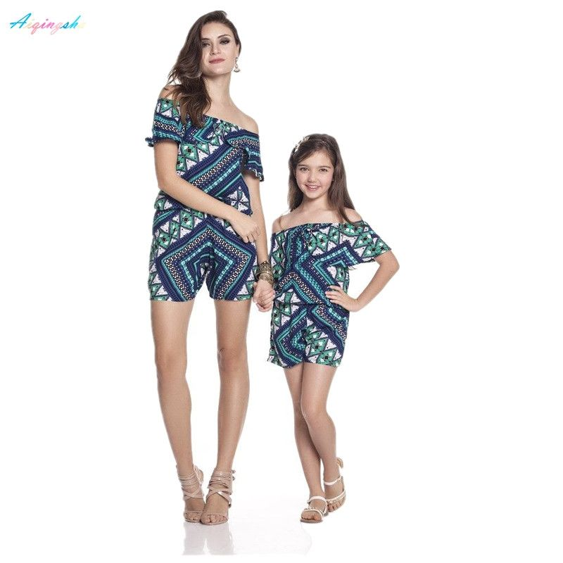 9cd533a5b03 Mum Mother and Daughter Clothes Matching Jumpsuits Off Shoulder Slash Neck  Women Kids Mom Baby Jumpsuits Family Matching Outfits