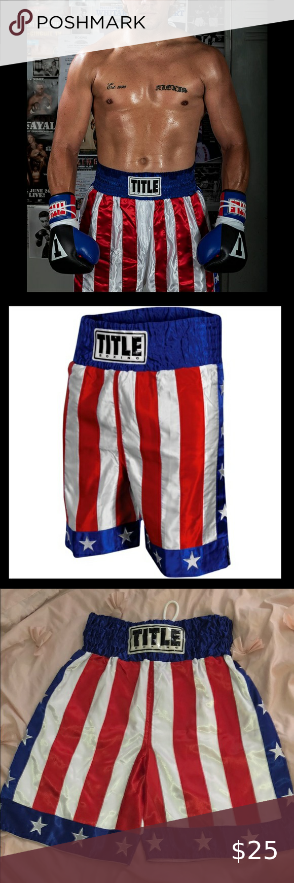 Title Boxing American Flag Shorts Size L In 2020 American Flag Shorts Title Boxing American Flag