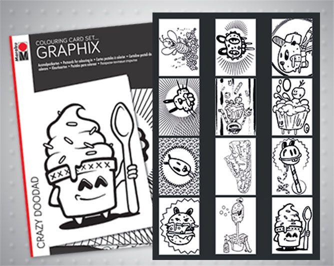 Комплекти картички за оцветяване Marabu Graphix