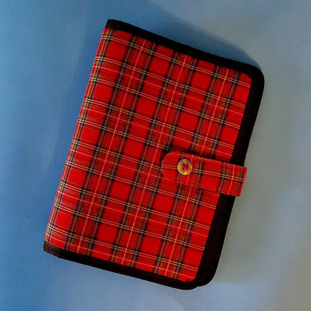 Red, Green, And Blue Plaid Cotton Cover With Black Binding
