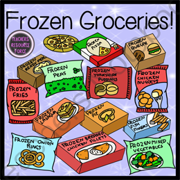 Frozen Groceries Food Clip Art - Color & Black Line from ...
