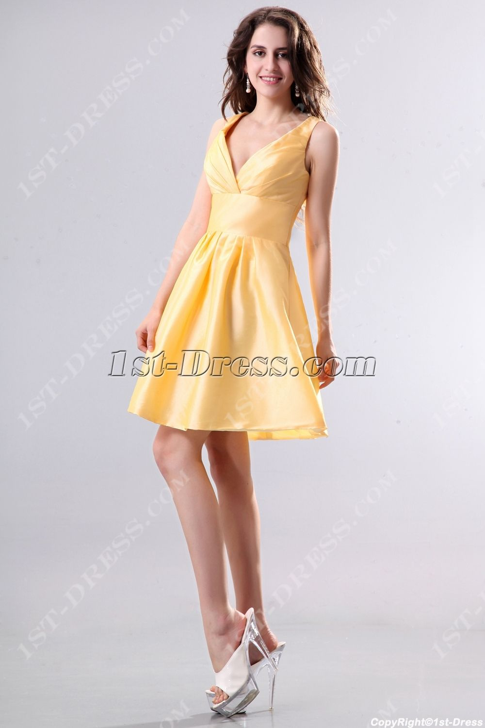 Yellow taffeta short junior prom dressesstdress short prom