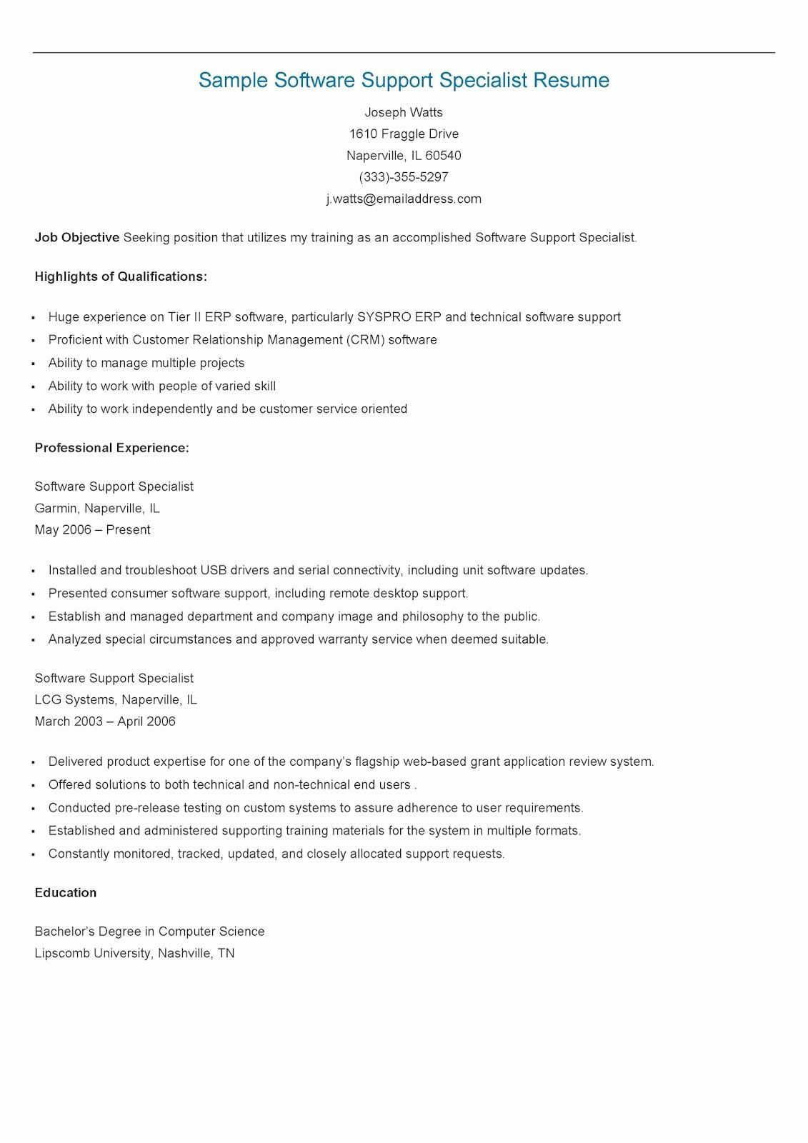 20 Customer Support Specialist Resume Software support