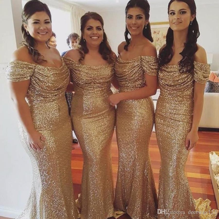 Elegant mermaid offtheshoulder gold sequined bridesmaid dress