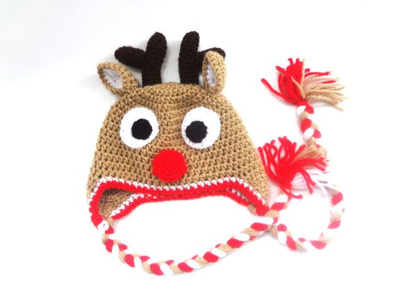 Newborn Photo Pro Crochet Rudolph the Red Nose Reindeer hat Baby Christmas Hat
