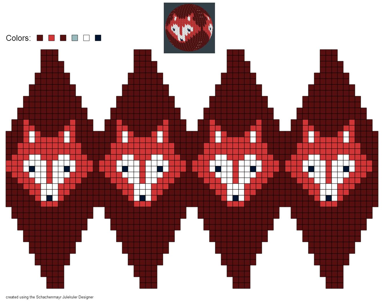 Designer Christbaumkugeln.Created Using Schachenmayr Julekuler Designer Christmas Beads