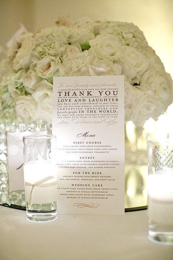 Thank You Menus as seen on Style Me Pretty - Sample #weddingmenuideas