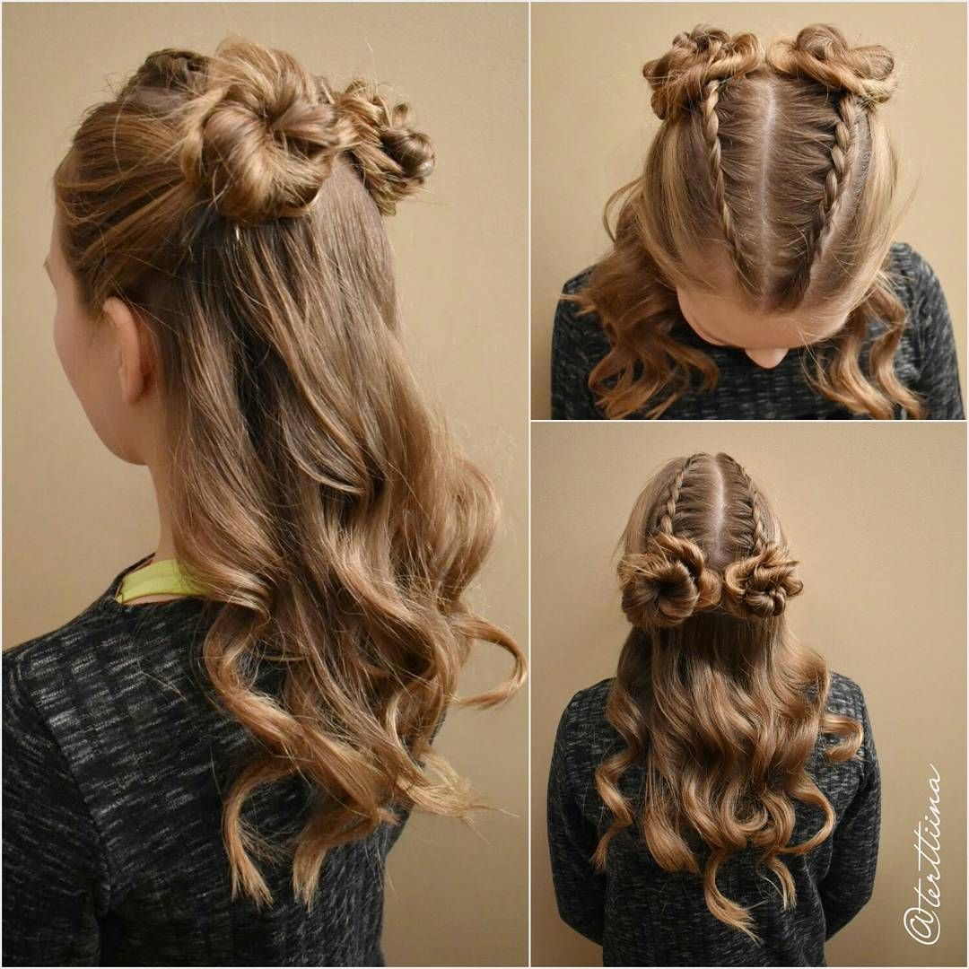 Two Small Dutch Braids Into Small Messy Buns And Curls